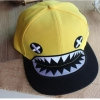 pre order หมวกฮิปฮอป hiphop unisex เท่ๆ สไตล์เกาหลี ลายฉลามหัวเราะเหลือง