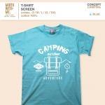 เสื้อยืดลาย Camping สีฟ้า