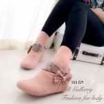 รองเท้าบูทผู้หญิง หนังชามัวนิ่ม แต่งโบว์ข้าง (สีชมพู )