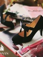 รองเท้าคัชชูสีดำ ส้นนเข็ม งานนำเข้าน่ารักๆ Lanvin-Paris ประดับโลซาตินดูหรูหรา