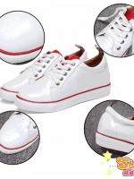รองเท้าผ้าใบสีขาวขอบแดง แบบฮิตงานสวยมีสไตล์ วัสดุหนัง pu เนื้อเงาบุฟูกนุ่ม พื้นยางหนา2c.m
