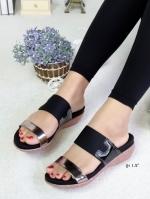 รองเท้าแตะผู้หญิง ทรงสวม เปิดส้น (สีดำ )