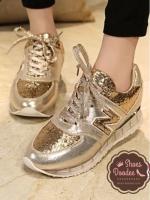 รองเท้าผ้าใบlสีทอง N แฟชั่น ทรงสวยฮิตขายดี วัสดุหนัง PU สลับกลิตเตอร์เงิน-ทองหรูหราอย่างมีระดับ +1