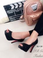 รองเท้าคัทชูส้นสูงลายลูกไม้วิ้งๆ (สีดำ )