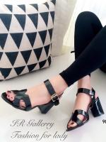 รองเท้าส้นสูงรัดส้น สไตล์H (สีดำ )