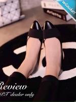 รองเท้าคัทชูส้นเตี้ยสีดำ หัวแหลม คาดด้วยแถบผ้าสีดำ น่ารัก ทรงทันสมัย แฟชั่นเกาหลี แฟชั่นพร้อมส่ง
