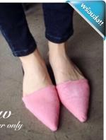 รองเท้าแตะผู้หญิงสีชมพู ขนม้า หัวแหลม เปิดส้น สวมใส่สบาย แฟชั่นเกาหลี แฟชั่นพร้อมส่ง