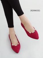 รองเท้าคัทชู หัวแหลม แต่งมุก (สีแดง)