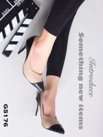 รองเท้าคัทชูส้นสูง หัวแหลม แต่งทูโทน (สีครีม )