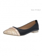 รองเท้าคัทชูส้นแบน หัวแหลมสีทอง (สีดำ )