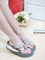 รองเท้าแตะเพื่อสุขภาพ ส้นหนา สายคาดเมทัลลิคเงา (สีเงิน )