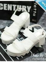 รองเท้าส้นตึกสีขาว เสริมส้นทำจากหนัง PU นิ่ม สวมใส่สบาย