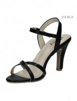 รองเท้าส้นสูงรัดส้น สายรัดตะขอเกี่ยว (สีดำ )