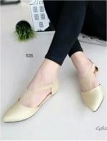 รองเท้าส้นเตี้ยรัดส้น หัวแหลม สไตล์Zara (สีทอง )