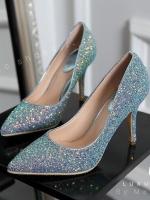 รองเท้าคัชชูส้นเข็มสีฟ้า งานนำเข้า100% collectio งานสวยค่ะทำจากหนัง กากเพรชสีสันหวานๆ สูง3.5นิ้ว