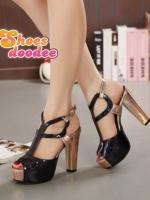 รองเท้าส้นสูงสีทอง ส้นตันงานนำเข้า หนังแก้วเงา แบบทูโทน2สี หลัง4.5นิ้ว หน้า1นิ้ว งานสวยเหมือนรูปเป๊ะ