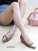 รองเท้าคัทชูส้นเตารีด หัวแหลม (สีน้ำตาล )