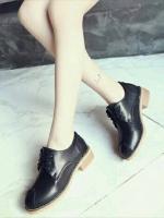 รองเท้าบูทผูกเชือก สไตล์Oxfort (สีดำ )
