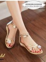 รองเท้าส้นแบนสีทอง สายคาดเส้นเล็กมัลเทลิค มีซิปด้านหลัง สูง1นิ้ว สวมใส่ง่าย