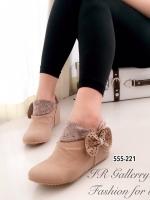 รองเท้าบูทผู้หญิง หนังชามัวนิ่ม แต่งโบว์ข้าง (สีน้ำตาล )