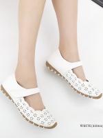 รองเท้าคัทชูเพื่อสุขภาพ เมจิกเทป หนังเจาะลายดอกไม้ (สีขาว)
