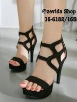 รองเท้าส้นสูงรัดข้อเท้า เปิดหน้า แนวเซ็กซี่ (สีดำ)
