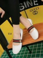 รองเท้าคัทชูส้นเตี้ย สไตล์Gucci (สีขาว )
