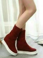 รองเท้าบูทเสริมส้น สำหรับฤดูหนาว (สีแดง )