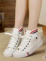 รองเท้าผ้าใบสีขาว ลำลองหุ้มข้อ รุ่นฮิตขายดีมากๆ ทรงสวยเรียบร้อย สวมง่าย แฟชั่นเกาหลี แฟชั่นพร้อมส่ง
