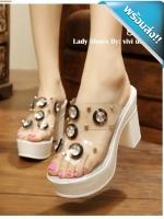รองเท้าส้นสูงผู้หญิงสีขาว สไตล์เกาหลี ลุคลำลองๆ ด้านหน้าประดับคริสตัล นพลาสติกใสนิ่ม ไม่บาดเท้า