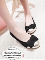 รองเท้าคัชชูสีดำ ส้นเตี้ยสไตล์Zara รองเท้าทรงแฟรต ทรงยอดนิยมใส่กันมากที่สุด สินค้าชนชอป ดีไซน์น่ารักแต่งอะไหล่โบว์