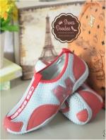 รองเท้าผ้าใบไร้เชือก สไตล์สุขภาพ (สีแดง )