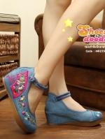 รองเท้าส้นเตารีดสียีนส์ รองเท้าปักลายพัดแบบจีนที่hotมากๆ รุ่นนี้พิเศษที่พื้นเสริมซิลิโคนนิ่มเกรดเยี่ยม ทำให้รองเท้านิ่มและทนยิ่งขึ้น สูง2 นิ้ว เสริมหน้า1นิ้ว(อวบกว้าง+1)