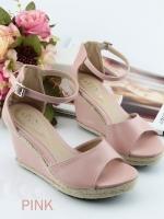 รองเท้าส้นเตารีดรัดข้อ (สีชมพู)