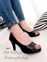 รองเท้าคัทชูส้นสูง ทรงเปิดหน้าเท้า หนังนิ่ม (สีดำ )