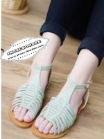 รองเท้าแตะรัดส้น งานหนังสาน แนววินเทจ (สีเขียว)