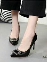 รองเท้าคัทชูส้นสูง หนังแก้ว (สีครีม )