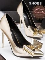 รองเท้าส้นสูงสีทอง งานพรีเมี่ยม วัสดุหนังPU ทรงหัวแหลม ส้นเข็ม ประดับโบว์เก๋ๆด้านหน้า