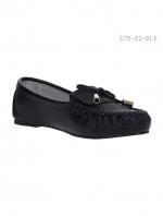 รองเท้าคัทชูส้นแบน ทรงมอคคาซิน (สีดำ )