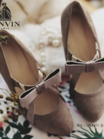 รองเท้าคัชชูสีน้ำตาล ส้นนเข็ม งานนำเข้าน่ารักๆ Lanvin-Paris ประดับโลซาตินดูหรูหรา