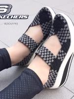 รองเท้าผ้าใบดำ เพื่อคนรักสุขภาพ STYLE-SKECHERS ด้านหน้าทำจากผ้ายางยืดอย่างดี แฟชั่นเกาหลี แฟชั่นพร้อมส่ง