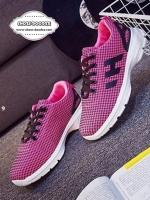รองเท้าผ้าใบสีชมพู แบบผูกเชือก งานคุณภาพพื้นโฟมรองรับแรงกระแทกอย่างดี สูงประมาณ1นิ้ว