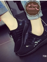 รองเท้าผ้าใบสีดำ แฟชั่นสไตล์เกาหลี ทรงSport เบาสบายระบาย ใส่เดินเที่ยว หรือออกกำลังกายก็ได้ เก๋สุดๆ