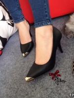 รองเท้าคัทชูส้นสูงหัวทองเปิดข้าง (สีดำ )