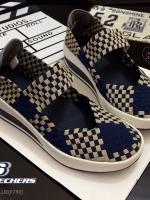 รองเท้าผ้าใบสีน้ำเงิน เพื่อคนรักสุขภาพ STYLE-SKECHERS ด้านหน้าทำจากผ้ายางยืดอย่างดี แฟชั่นเกาหลี แฟชั่นพร้อมส่ง