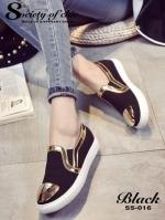 รองเท้าผ้าใบผู้หญิง ทรงLoafer แต่งขอบทอง (สีดำ)