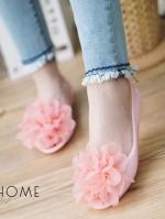 รองเท้าคัทชูสีชมพูดอกชมพู เนื้อซิลินโคน เว้าข้าง แต่งดอกยักษ์ งานนำเข้า ใส่สบายไม่กัดเท้าค่ะ