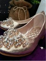 รองเท้าคัทชูส้นเตี้ย หนังวิงค์วิงค์ (สีทอง )