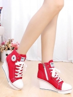 รองเท้าผ้าใบสีแดง เสริมส้น สไตล์ SPORTY GIRL เเนำนำ+1