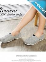 รองเท้าผ้าใบผู้หญิงสีน้ำเงิน ลายทาง ส้นแบน แบมสวม น่ารัก สวมใส่สบาย แฟชั่นพร้อมส่ง